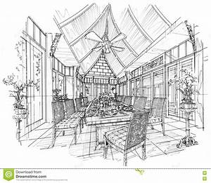 Sketch Interior Perspective Dining Room , Black And White ...