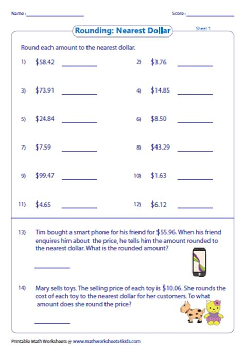 Rounding And Estimating Money Worksheets