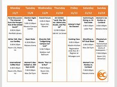 Weekly Activity Calendar! EC Oswego