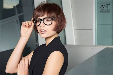 bob haircut  fine straight hair  glasses