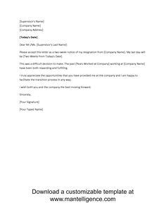 resignation letter sample 2 weeks notice - Google Search | Resignation letter sample