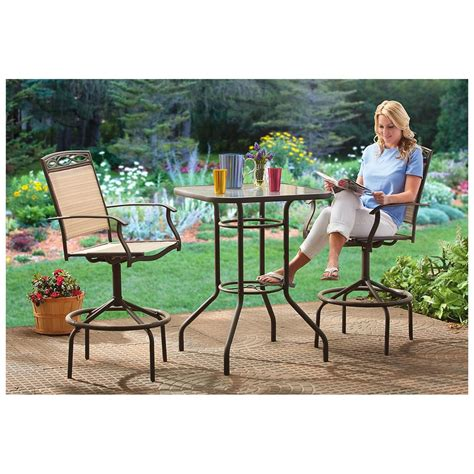 tall outdoor bistro table set castlecreek 3 piece patio bistro dining set bar height
