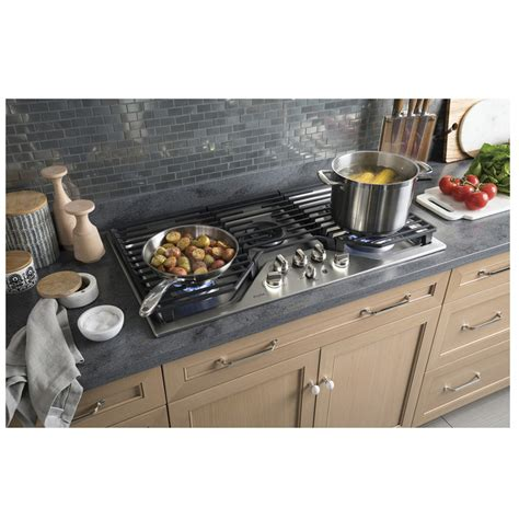 ge profile  built  deep recessed edge  edge gas cooktop stainless steel pgpslss