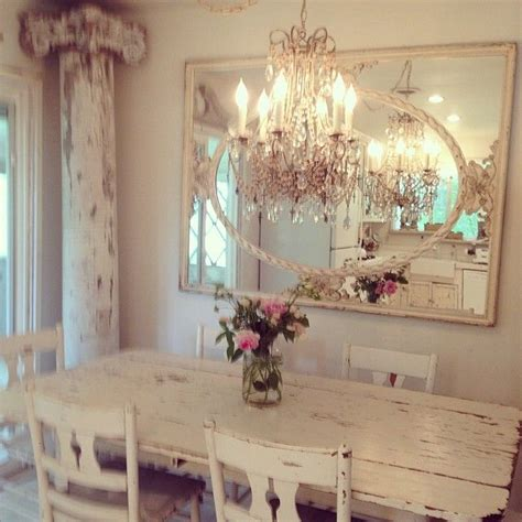 shabby chic dining room chandeliers rustic and romantic dining space great architectural elements alongside elegant chandelier and