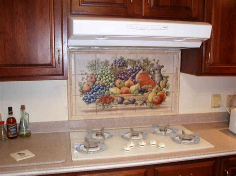 kitchen tile for backsplash cornucopias with serving pitcher backsplash tile murals 6264