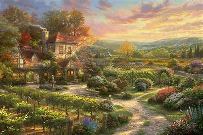 Country Living Wine Limited Edition Canvas Kinkade