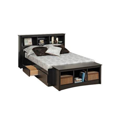 bookcase platform storage bed  headboard  black