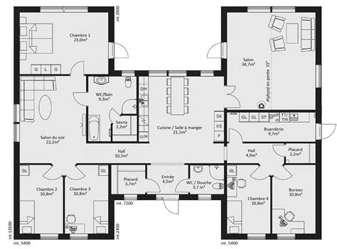 plan de maison en u cuisine gorgeous plan maison en u exemple de plan maison en u plan de maison en u 4 chambres