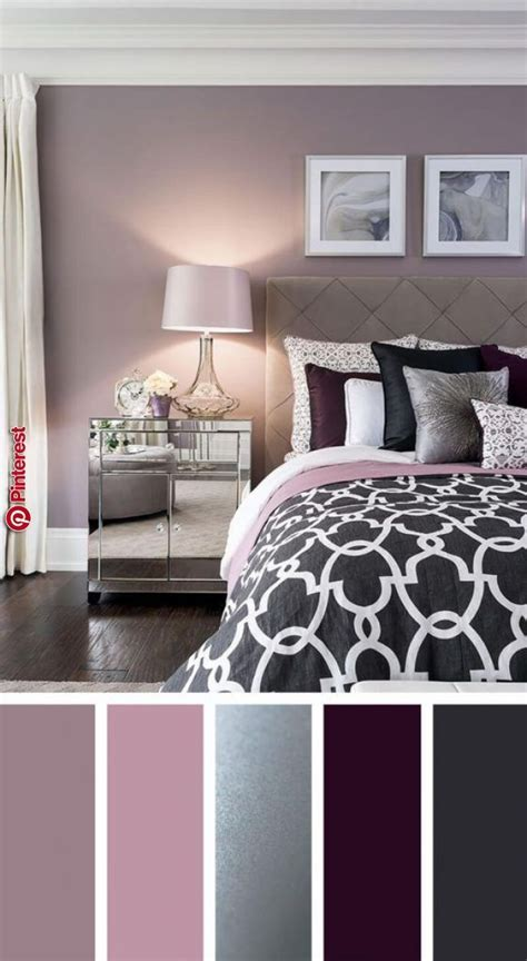 Bedroom Color Schemes Pink by Silver Plum And Lavender Palette Bedroom In