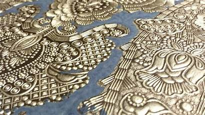 Embossed Tooled Damask Antique Intricately Remnant Leather