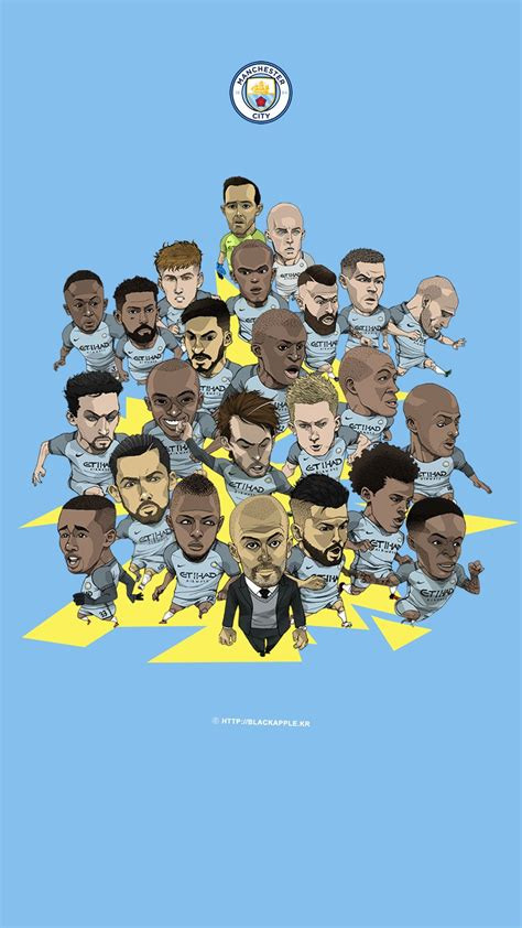 manchester city full squad fan art  mobile wallpaper