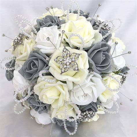 Brides Posy Bouquet Lemon White And Grey Roses Artificial