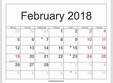 February 2018 Calendar With Holidays monthly printable