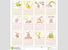 Baby Bunny Calendar 2015 stock vector Image of