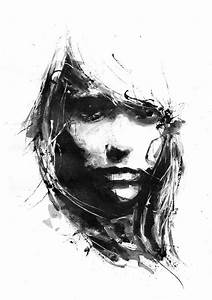 Negative Space Black And White Art Girl Face Minimalism