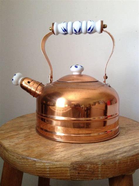 vintage copper whistling tea kettle  porcelain spout cover  images tea kettle