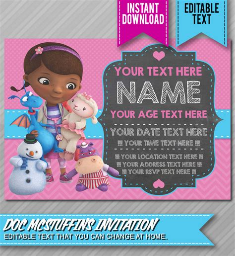 doc invitation template doc mcstuffins birthday planning ideas supplies partyideapros