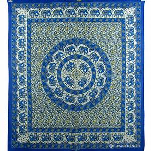 Blue indian elephant mandala dorm decor tapestry wall