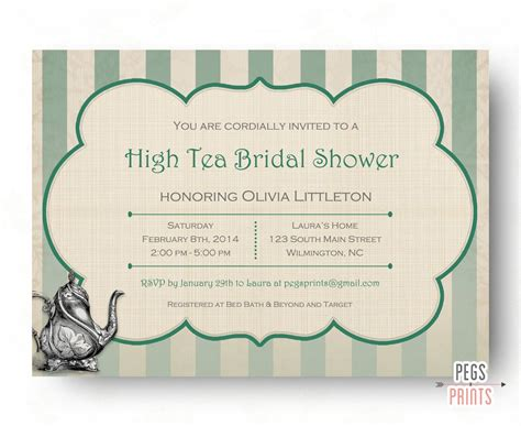 High Tea Bridal Shower Invitation Printable Bridal Tea Party