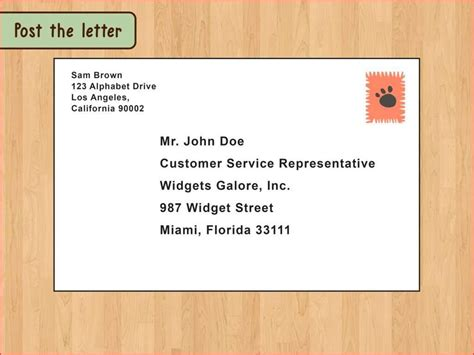 letter envelope format attention business address canada