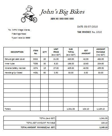australian tax invoice template word invoice
