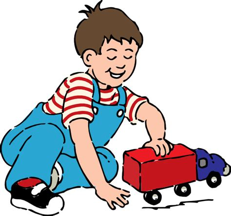 playing cartoon boy playing with toy truck clip art at clker com vector
