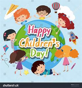 Happy Childrens Day Poster Happy Kids Stock Vector ...