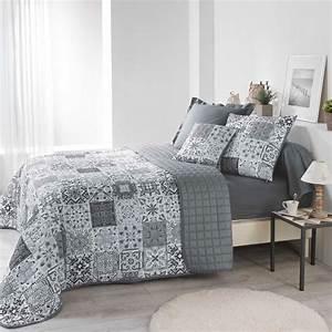 Dessus De Lit Blanc : couvre lit 220 x 240 cm persane gris couvre lit boutis eminza ~ Teatrodelosmanantiales.com Idées de Décoration