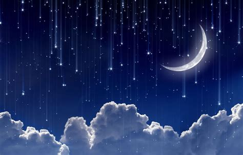 Space Moon Year Crescent Sky Clouds Star Stars Lights