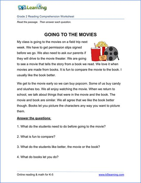 free printable second grade reading comprehension
