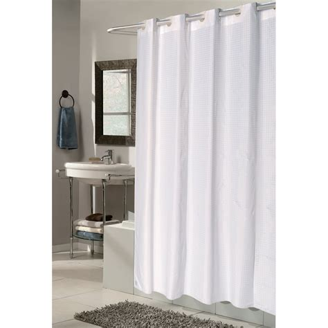 ez on grommet checks white fabric shower curtain