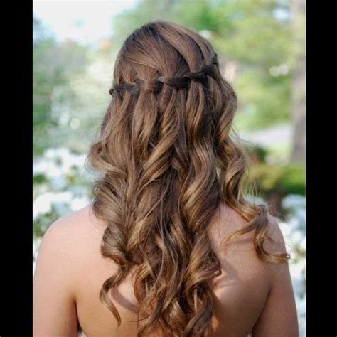 waterfall braid  curls homecoming pinterest