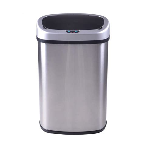 kitchen trash can with lid new 13 gallon touch free sensor automatic stainless steel