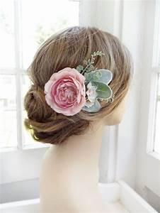Pink Hair Flower Bridal Hair Clip Wedding Headpiece