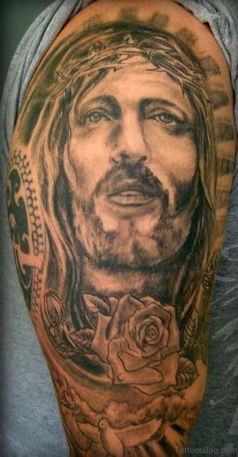 classic jesus tattoos  shoulder