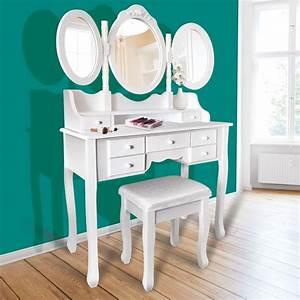 Coiffeuse 3 Miroirs : coiffeuse 3 miroirs en bois et tabouret meubles et am nagement ~ Teatrodelosmanantiales.com Idées de Décoration