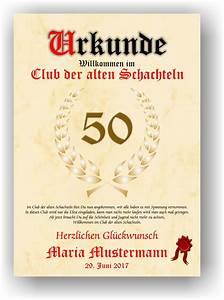 Urkunde Club der alten Schachteln 18 20 30 40 50 60