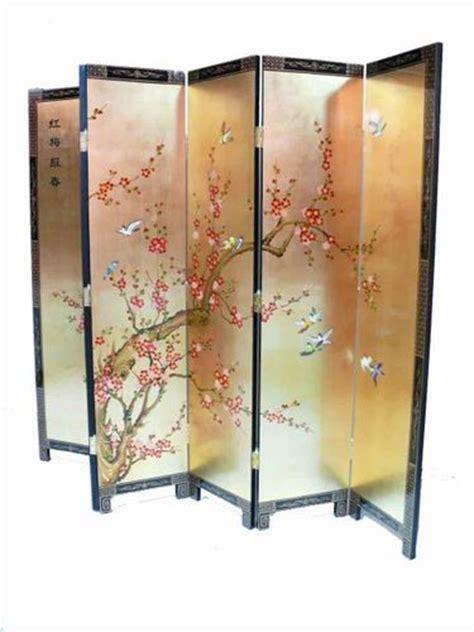 Gold Leaf Plum Blossom Room Divider Screen Oriental