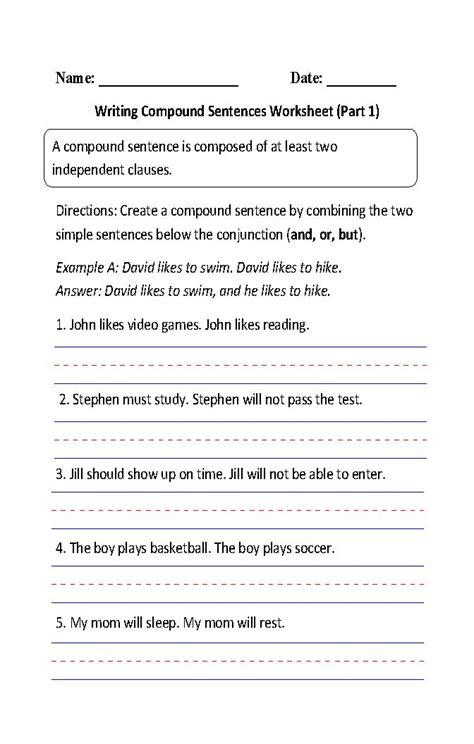 writing compound sentences worksheet part 1 4th grade ela pinterest sentences