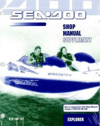Sea Doo Boat Service by 2001 Sea Doo Explorer Jet Boat Service Manual Supplement
