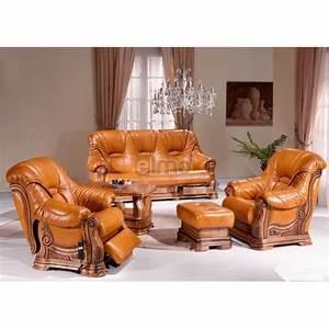 Salon cuvette rustique cuir et chene fauteuil relax table for Canape cuir rustique