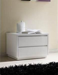 Table De Chevet Blanc Laqué : chevet adulte design laqu blanc tobia 2 tiroirs ~ Teatrodelosmanantiales.com Idées de Décoration