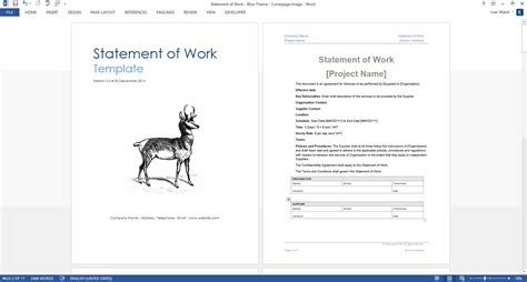 statement of work template statement of work ms word excel template