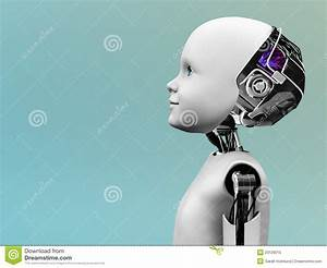 Child Robot Head In Profile. Royalty Free Stock Photo ...