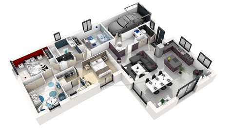 chambre 3d plan de maison 3d 4 chambres