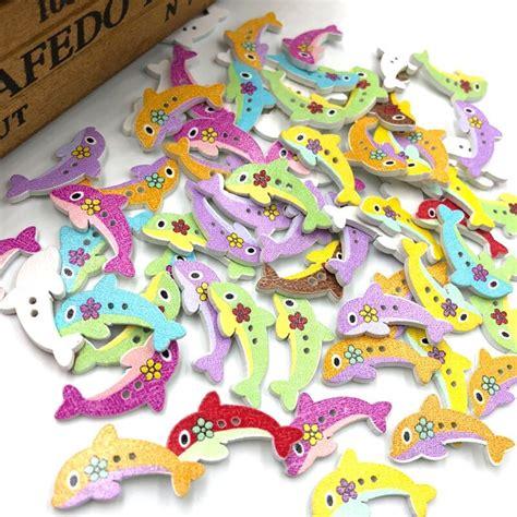 10/50/100pcs Mix Fish Wood Buttons 30mm Sewing Mix Lots ...