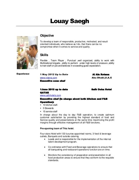 what does a chef de cuisine do louay saegh cv