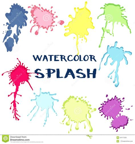 set watercolor paint splash vector collection of color