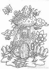 Coloring Fairy Adult Mushrooms Mushroom Doodle Mystical Colouring Printable Books Faerie Drawn Hand Town Drawing Outline Yeti Landscape Magic Boho sketch template