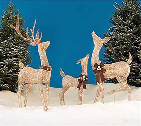 christmas reindeer family  piece set includes glittering